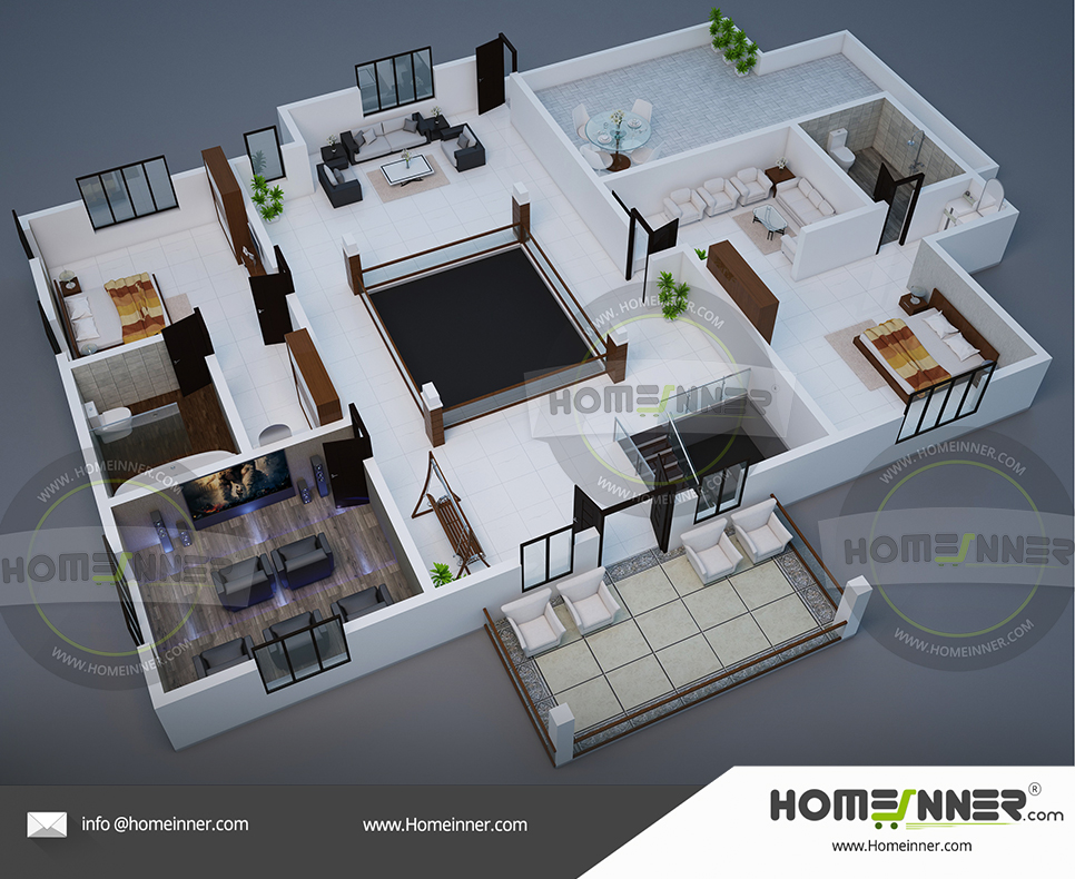 Free 3D house plan 2712 2 Bedroom luxury villa