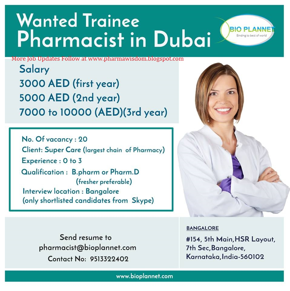 abroad job openings for freshers as trainee pharmacist in dubai bio plannet bangalore - Pharmacist Trainee
