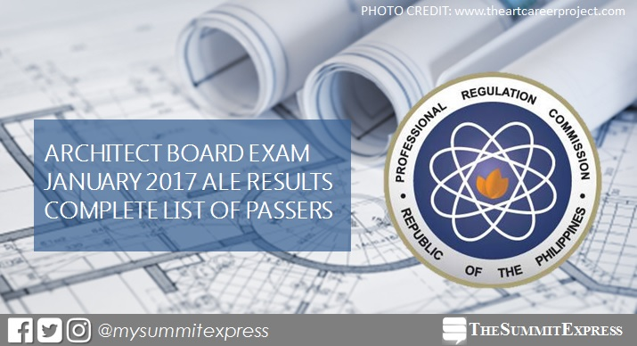 January 2017 Architect board exam (ALE) results