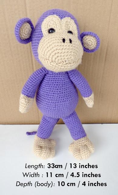Large crochet monkey, stuffed toy, purple monkey, AmVaBe Creations