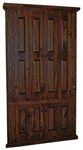 A hand-made custom designed larger corner armoire in dark-stained pine. This one was made to hold a large TV unit.