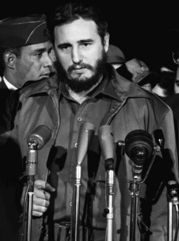 Foto de Fidel Castro en plena conferencia