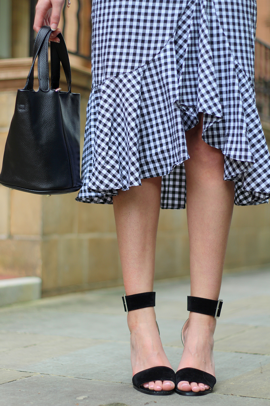 gingham frill skirt monochrome gingham