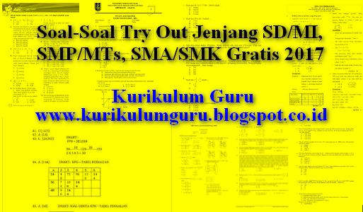 Soal-Soal Try Out Jenjang SD/MI, SMP/MTs, SMA/SMK Gratis 2017