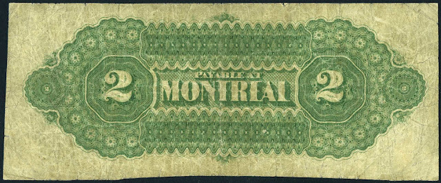 Dominion of Canada 2 Dollar Bill 1870 Payable at Montreal