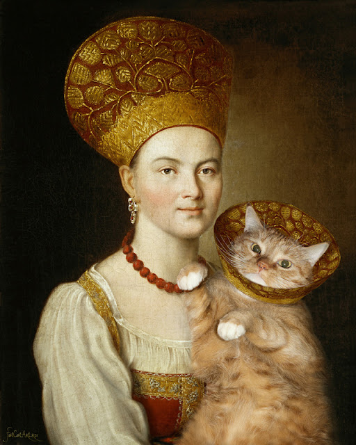 Argunov's portrait of an unknown woman with fat cat