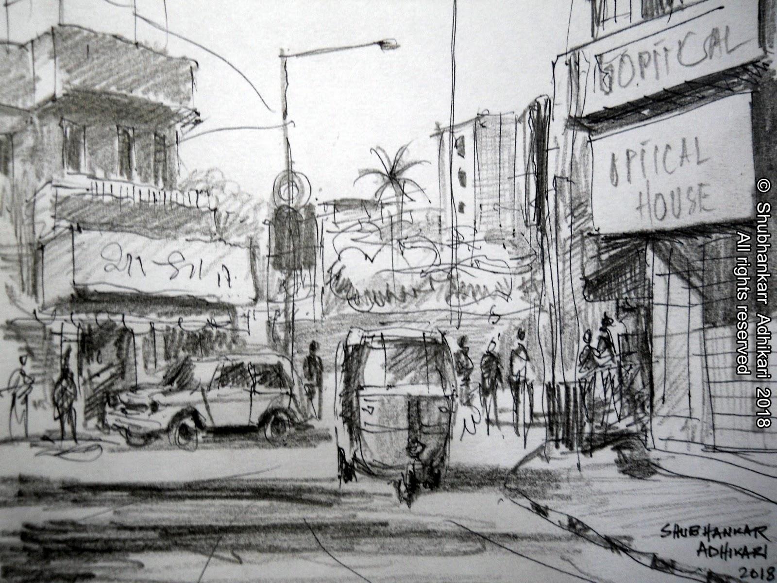 Shubhankar adhikari fine art speed sketch with pen pencil