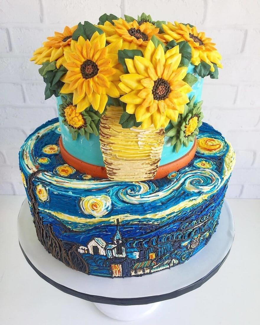 08-Vincent-van-Gogh-The-Starry-Night-Sunflowers-Leslie-Vigil-Themed-Decorated-Cakes-www-designstack-co