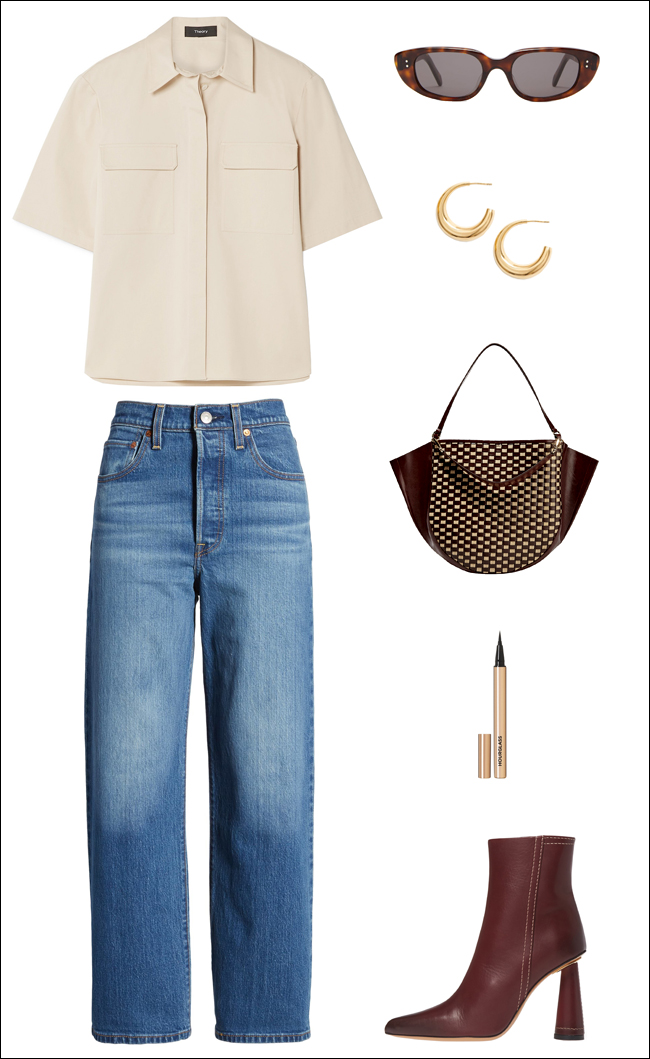 Burgundy Accessories Elevate This Denim Look for Fall