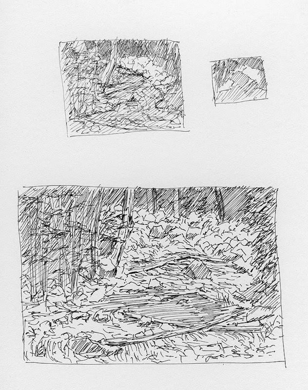 art sketch plein air pen ink nature landscape mountain