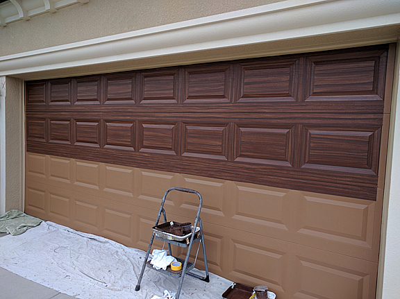 Garage doors finished up everything i create paint for How to paint a garage door to look like wood