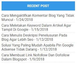 Cara Membuat Recent Post Blogger