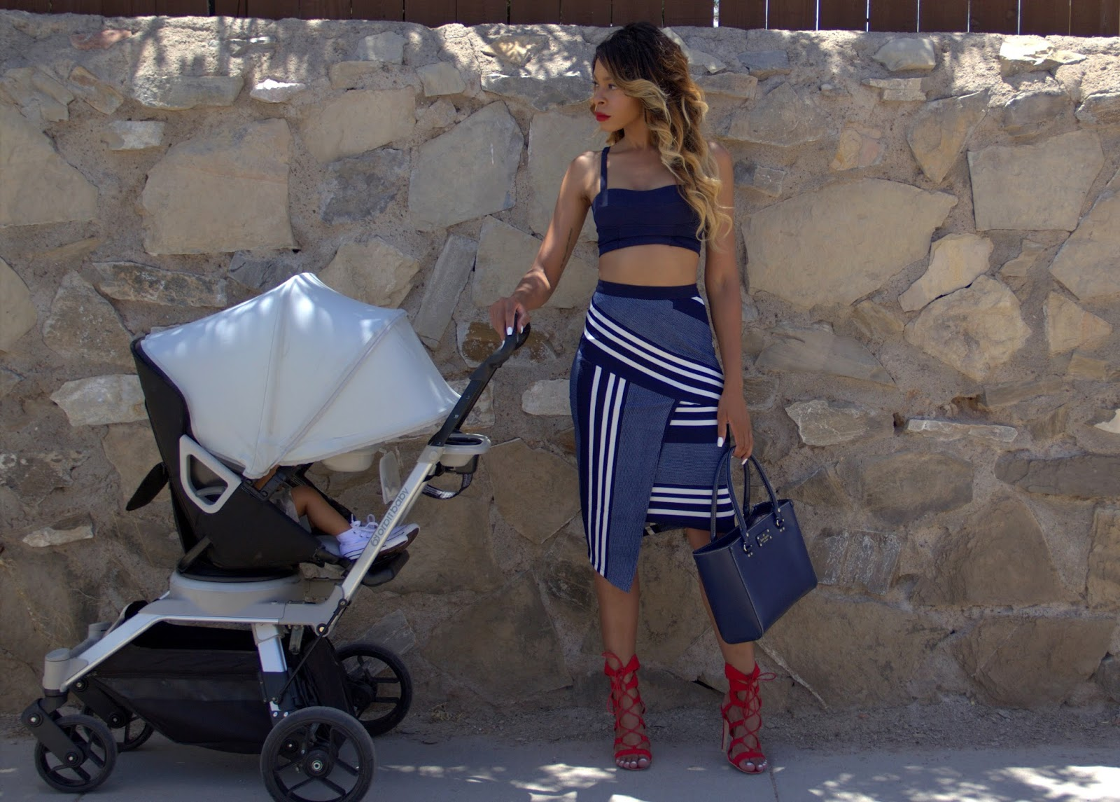 allthingsslim, ombre hair, orbit baby stroller, pencil skirt outfit
