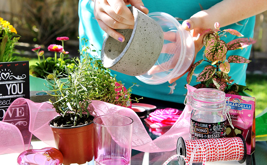 Do Valentine's on a budget. Do the 99. Amazing D.I.Y gift ideas for living Valentine's gifts from mason jar bulb planters to hand poured concrete planters. #99YourValentinesDay #DoingThe99 (AD)