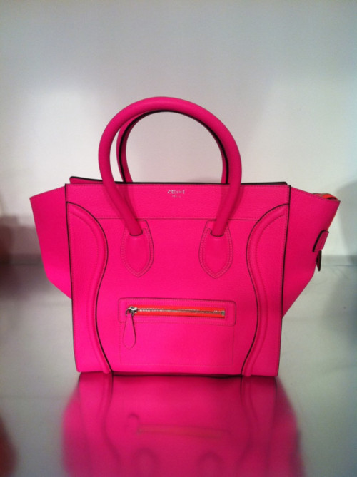 Oh My God Shoez Celine Mini Luggage Tote In Neon Pink