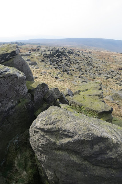 View of gritstone tors and shattered boulders.