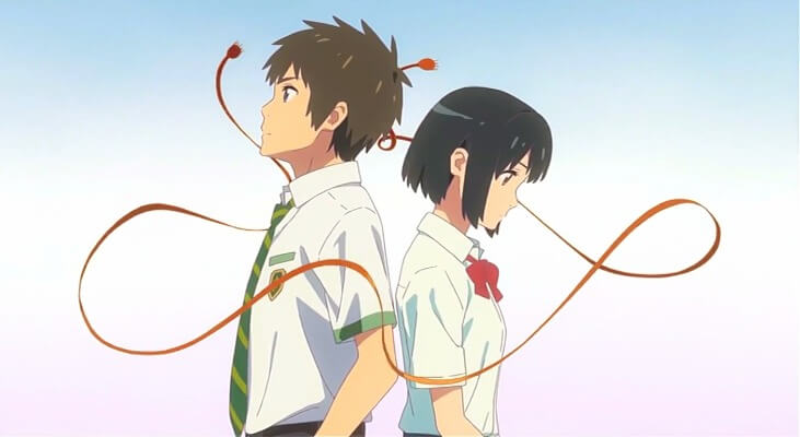 Mitsuha and Taki connected by a red cord in Kimi no Na wa