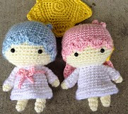 http://www.ravelry.com/patterns/library/crochet-little-twin-stars-kiki-lala-doll