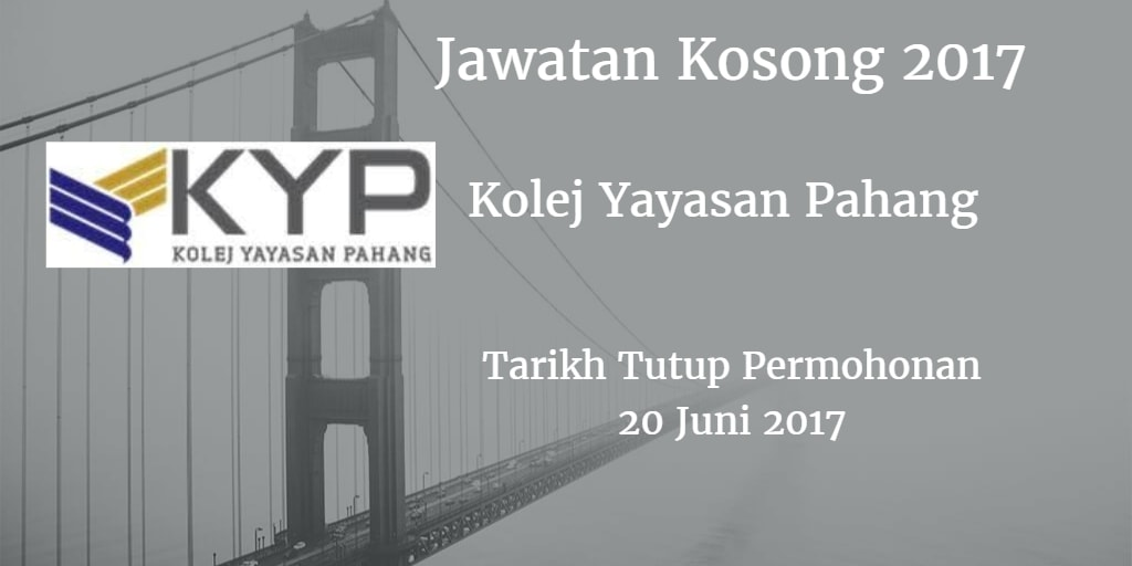 Jawatan Kosong KYP 20 Juni 2017
