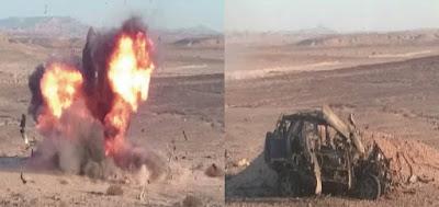 ضبط فردين مشتبه بهم وتدمير عربة دفع رباعى للتكفيريين بوسط سيناء
