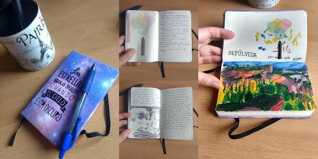 travel journal portada, lista preparar viaje, ilustración y paisaje