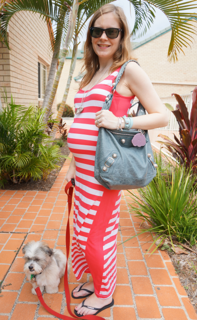Away from Blue three dots striped maxi dress balenciaga hobo bag baby bump