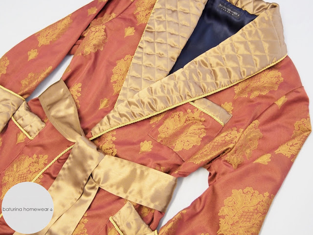 classic mens robe silky jacquard fully lined warm extra long quilted collar robe red gold navy paisley luxury exquisite