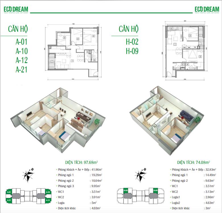 Thiết kế căn hộ 97,68 và 74,08m2 chung cư Eco Dream