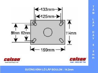 Kích thước Bánh xe đẩy xoay đa chiều có lò xo Colson phi 150 mm | SB-6509-648 sử dụng ổ bi www.banhxeday.xyz