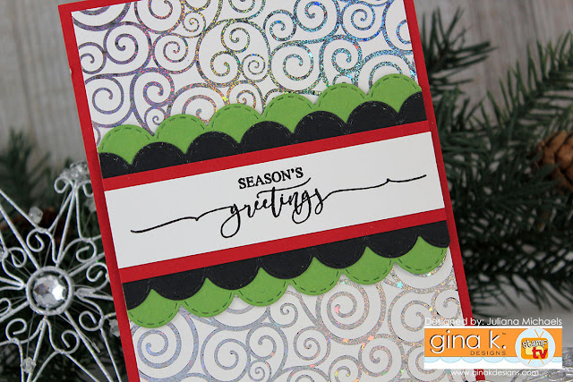 Season's Greetings Card by Juliana Michaels featuring Scripty Holiday Incentive Stamp Set and Foil Mates Backgrounds Blizzard by Gina K Designs
