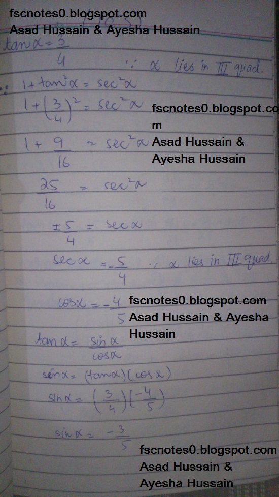 FSc ICS FA Notes Math Part 1 Chapter 10 Trigonometric Identities Exercise 10.2 Question 10 Written by Asad Hussain & Ayesha Hussain 1