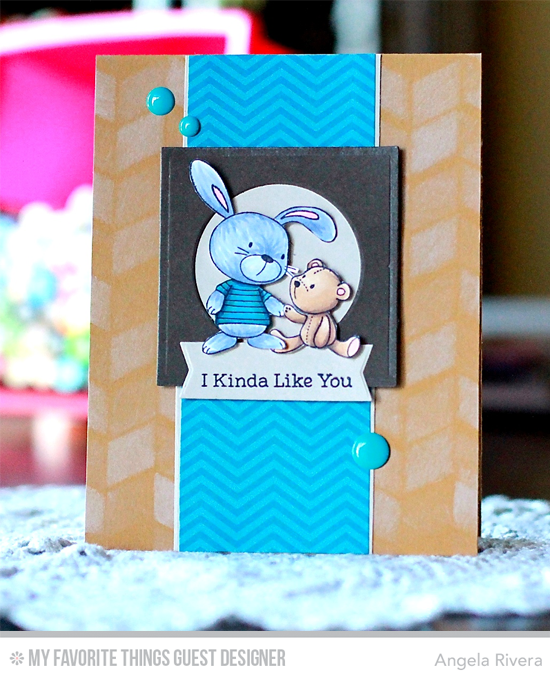 Handmade card from Angela Rivera featuring Snuggle Bunnies stamp set, Square STAX Set 1, Circle STAX Set 2 Die-namics, and Chunky Herringbone Stencil #mftstamps