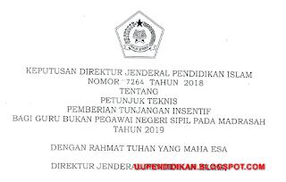 Juknis Tunjangan Insentif Guru Non PNS Madrasah Tahun 2019
