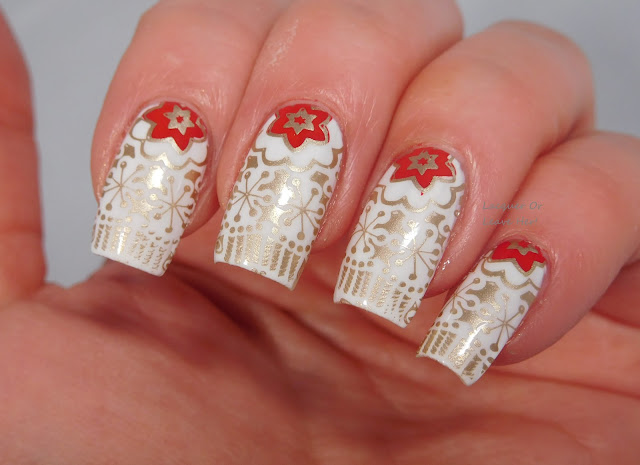 UberChic Beauty 15-03 over Spellbound Nails Milky Way stamped with Messy Mansion Soft Gold and Red-y Or Not