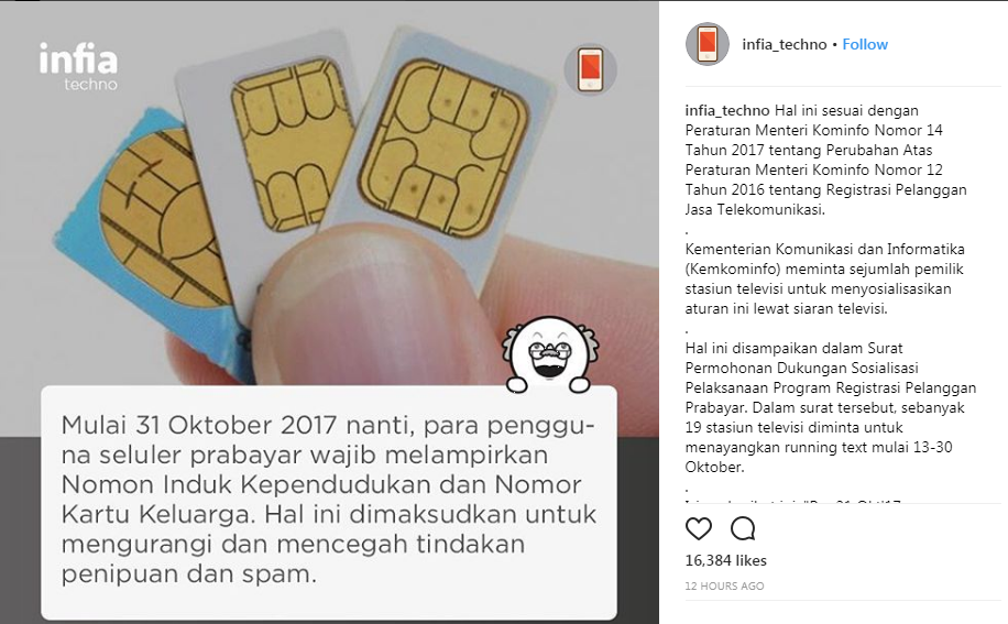 Per 31 Oktober 2017, Registrasi Kartu Perdana Baru Wajib Melampirkan KK  Ibnuwajak.id