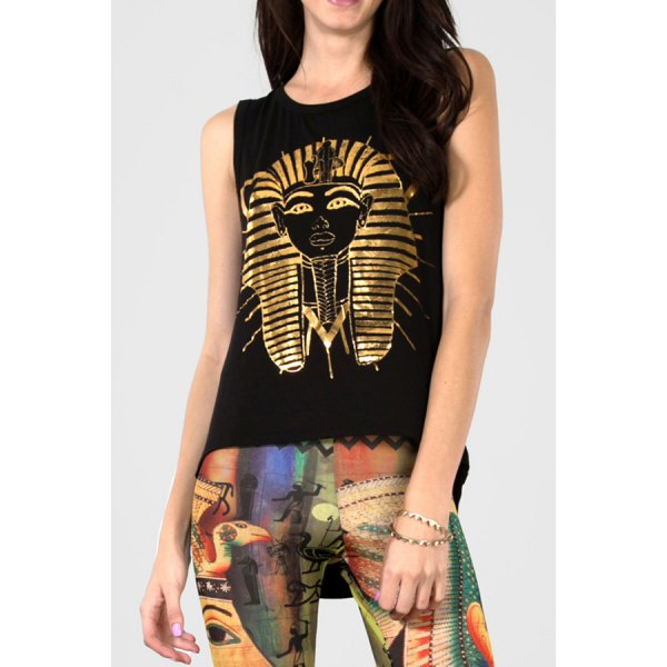 Stylish Jewel Neck Sleeveless Pharaoh Print Women's Tank Top - Black 2xl