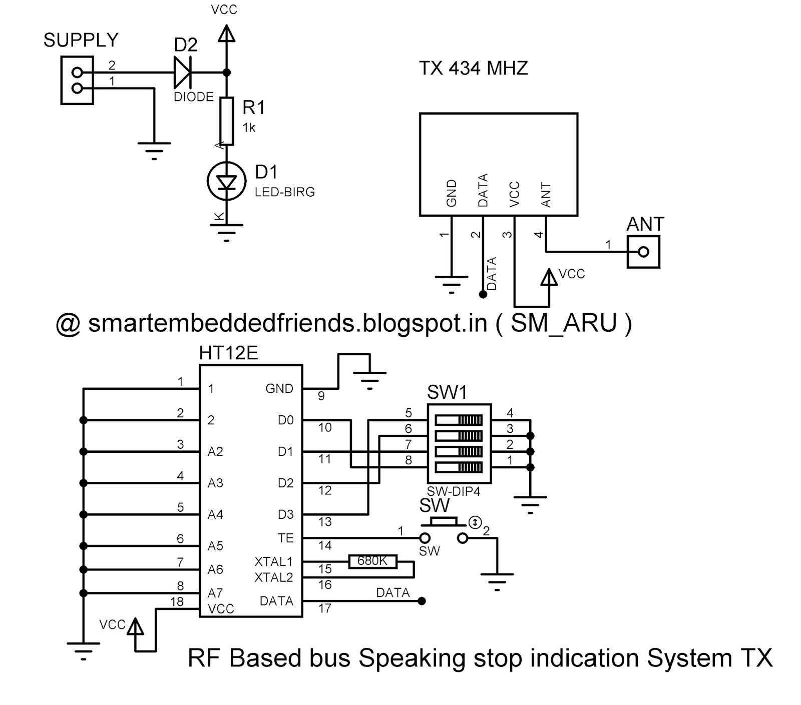 Rf Based Bus Speaking Stop Indication Reminder Project Smart Module Circuit Diagram Tx