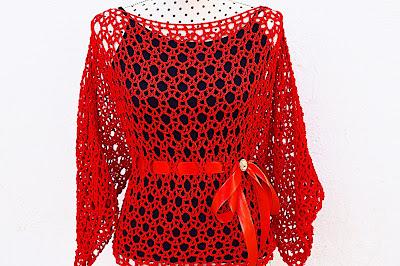 Blusa roja Majovel Crochet ganchillo 2