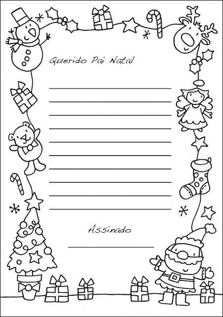 Baú da Web Carta para o Papai Noel para imprimir e Colorir