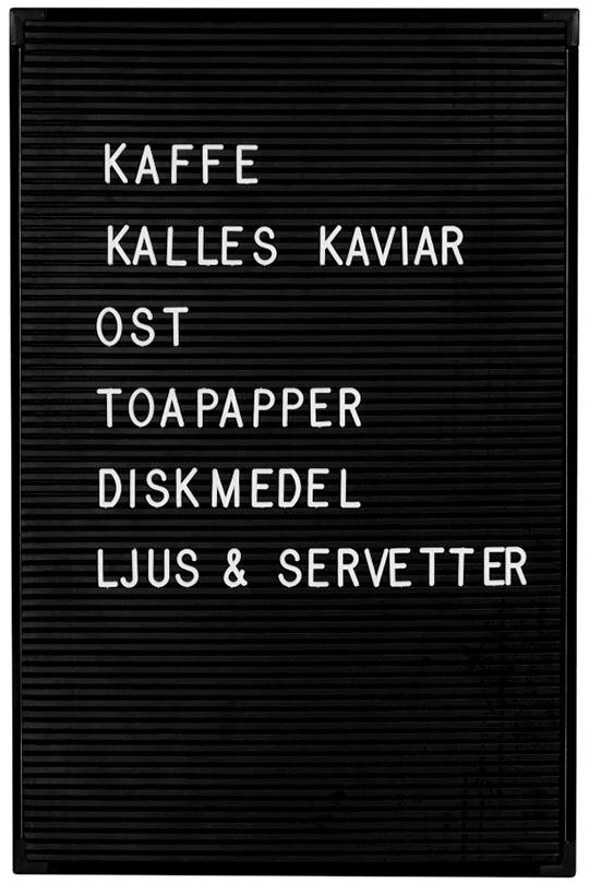 Liten anslagstavla Bokstäver - hösten 2016 hos Granit | www.var-dags-rum.se