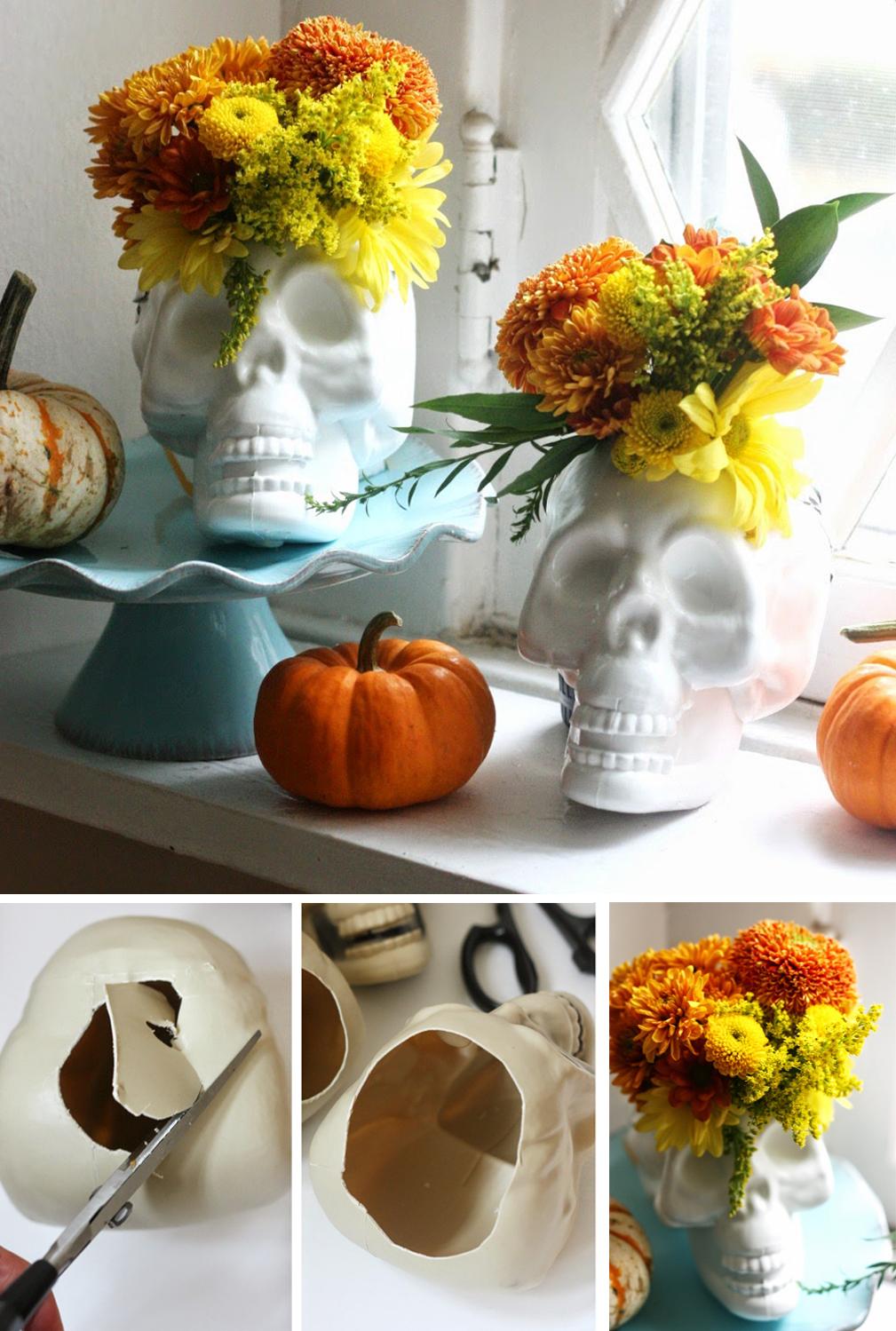diy para decorar halloween con florero de calavera terrorifico fácil y económico