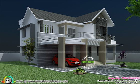 Modern sloping roof 2142 sq-ft house