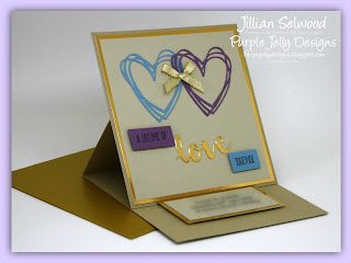 Personalised Easel Wedding Card in earthly colours with a splash of Blue and Purple