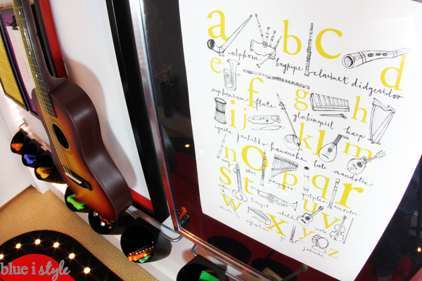 Music Alphabet Poster in Under Stair Playroom