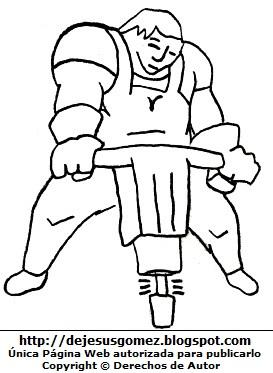 Dibujo de un Obrero trabajando con un martillo neumático para colorear, pintar e imprimir. Oficio obrero hecho por Jesus Gómez