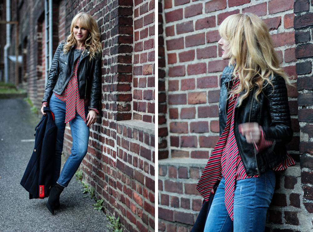 Nowshine trägt Lederjacke plus Winterjacke und Bluse ü40 Mode Blog