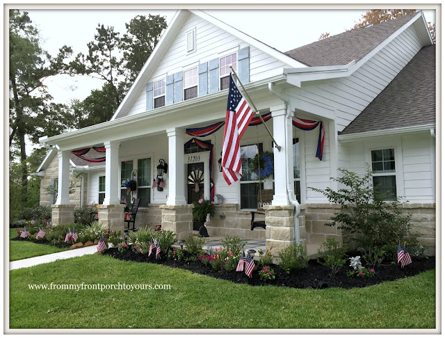 Farmhouse-Suburban Farmhouse-White Farmhouse-Fourth of July-Patriotic Front Porch-From My Front Porch To Yours