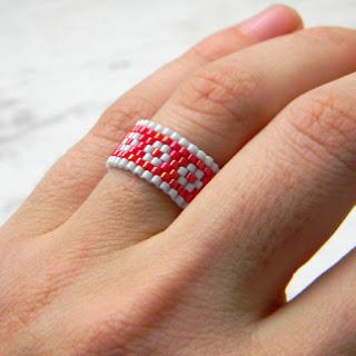 Кольцо из бисера - этника - peyote ring