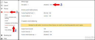how to enable search description on blog post