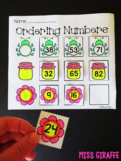 Ordering numbers math cut and paste worksheet for kids to match the pictures then order each set of numbers.. love these 1st grade math ideas!